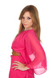 Fashion girl with pink dress Royalty Free Stock Photography