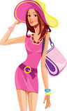 Fashion girl in a pink dress and hat. Vector illustration of beautiful fashion girl in a pink dress and hat Royalty Free Stock Images