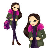 Fashion Girl In Pink Fur Coat. Vector illustration of brunette girl in a pink fur coat hold backpack Royalty Free Stock Images