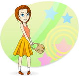 Fashion girl with pocket bag Royalty Free Stock Image