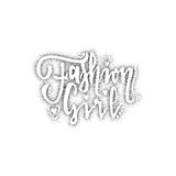 Fashion girl. Pointillism - Calligraphic patch. Unique Custom Characters.   Royalty Free Stock Photos