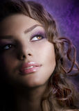 Fashion Girl Portrait. Close up Portrait of a Beautiful Young Woman Stock Photography