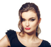Fashion girl portrait in black dress. Stock Photography