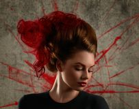 Fashion Girl Portrait With Coloring Red Hair Stock Photography