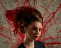 Fashion Girl Portrait With Coloring Red Hair Stock Photos