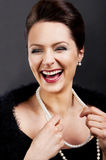 Fashion girl portrait with luxury accessories and big smile Stock Photography