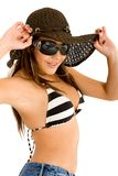 Fashion girl portrait - sunglasses Royalty Free Stock Images
