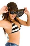 Fashion girl portrait - sunglasses Royalty Free Stock Images