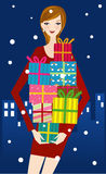 Fashion girl with presents Stock Image