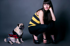 Fashion girl with pug dog in studio. Beautiful fashion girl in black leggings, stripped t-shirt and high heels with her favorite pug dog pet in funny costume Stock Images