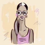 fashion girl Ręka rysujący portret Zdjęcia Royalty Free