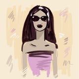 fashion girl Ręka rysujący portret Obrazy Stock