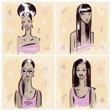 fashion girl Ręka rysujący portret Zdjęcie Royalty Free
