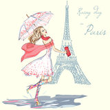 Fashion girl rainy day in Paris. Hand drawn illustration Background with model Stock Image