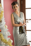 Fashion girl ready for xmas toast Royalty Free Stock Images