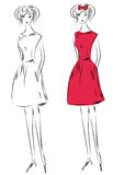 Fashion girl in red dress. Sketch of fashion girl in red dress Stock Photography