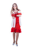 Fashion girl in red dress. Isolated on white Royalty Free Stock Photography