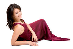 Fashion girl in a red dress Royalty Free Stock Image