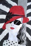 Fashion girl in a red hat. Handmade drawing. Illustration - yong pretty fashion girl in a red hat. Original painting beautiful girl with sunglasses royalty free illustration