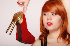Fashion girl with red high heel stiletto shoes. Stock Photo