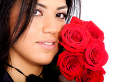 Fashion girl with red roses Stock Photography