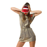 Fashion Girl In Red Sun Visor Royalty Free Stock Photography
