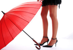 Fashion Girl And Red Umbrella Stock Photo