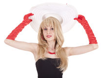 Fashion girl in retro style with big hat Royalty Free Stock Photography
