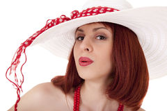 Fashion girl in retro style with big hat Stock Image