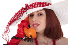 Fashion girl in retro style with vintage phone Stock Photos