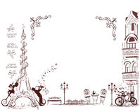 Fashion girl rides a bicycle, decorated with a musical stave and butterflies. Romantic Eiffel Tower decorated with a musical stave, notes and musicians royalty free illustration