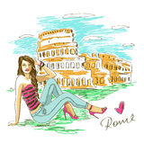 Fashion girl in Rome. Sketch illustration of fashion girl and Colosseum in Rome Royalty Free Stock Photography