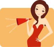 Fashion girl say sale Stock Image
