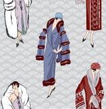 Fashion girl seamless background. Flapper girls (20s style) seamless pattern: Retro fashion party background Royalty Free Stock Photo