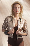 Fashion girl with sequins top Stock Images