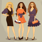 Fashion girl. Sexy sweet fashion girls set vector illustration Royalty Free Stock Photos