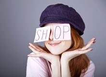 Fashion girl with SHOP word on eyes. Royalty Free Stock Images