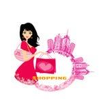 Fashion girl Shopping Stock Images