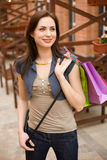 Fashion girl with shopping bags Stock Images