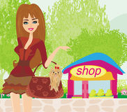 Fashion girl Shopping. Illustration Royalty Free Stock Images