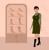 Fashion girl shopping in shoe shop Royalty Free Stock Images