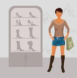 Fashion girl shopping in shoe shop Stock Photo