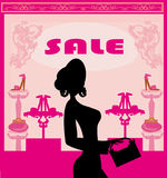 Fashion girl shopping in shoe shop , abstract card Stock Image