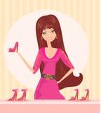 Fashion girl shopping in shoe shop. Illustration Stock Image