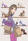 Fashion girl shopping in shoe shop, vector Royalty Free Stock Photo