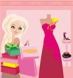 Fashion girl shopping. Vector Illustration Stock Photography