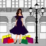 Fashion girl at shopping royalty free illustration