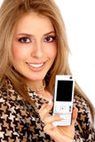 Fashion girl showing her phone Stock Photography