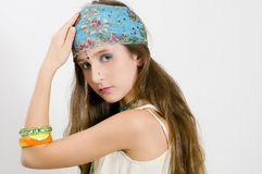 Fashion girl showing jewelry Stock Photography