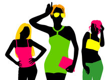Fashion girl silhouettes. Vector illustration of modern fashion girl silhouettes on white background Royalty Free Stock Photography